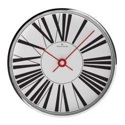 Front view photo of chrome steel wall clock with large numerals and red hands