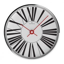 Front view photo of contemporary chrome steel wall clock with large black numerals and red hands