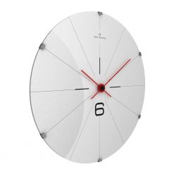 Sideview photo of stainless steel wall clock with black markers and red hands