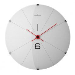 Full front view of stainless steel wall clock with black markers and red hands