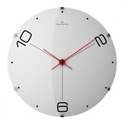 Front view image of 37cm stainless steel wall clock with black numbers and red hands