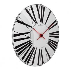 Second sideview image of 50cm wall clock with black numerals, red hands and stainless steel face