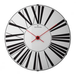 Front view of 50cm stainless steel wall clock with black numerals and red hands