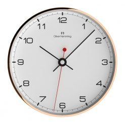 Image of white face wall clock with black number and rose gold outer rim