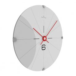 Side view photo wall clock with stainless steel face, black markers and red hands