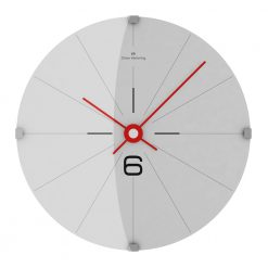 Front view of simple wall clock with white face, black markers and red hands