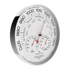 Side view photo of simplex barometer wall clock with black numbers, red hands and white face