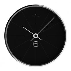 Image of black contemporary wall clock with white hands