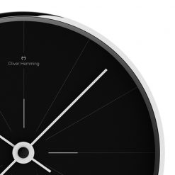 Close-up photo of thin front contemporary wall clock with black face and white hands