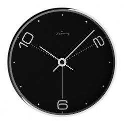 Front view photo of thin contemporary wall clock with black face and white numbers and hands