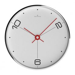 Front photo of white wall clock with red hands, silver outer rim and white face