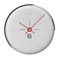 Front view of thin contemporary wall clock with stainless steel rim and red hands