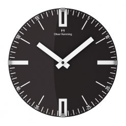 Photo of 30cm black wall clock with silver markers