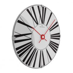 Sideview photo of 30cm stainless steel wall clock with black numerals and red hands