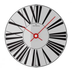 Front image of white face wall clock with black numerals and red hands