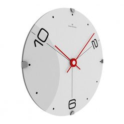 Side view image of white face wall clock with red hands and black numbers