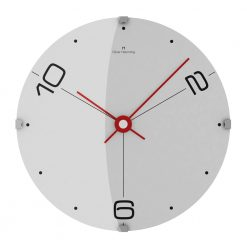 Image of Oliver Hemming wall clock with white face, red hands and black numbers