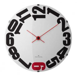 Image of Oliver Hemming wall clock with black and red numbers and hands and white face