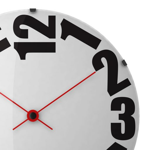 Close-up image of large 50cm wall clock with red hands and large black numbers
