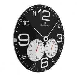 Sideview photo of barometer wall clock with white hands and black face