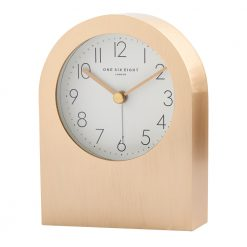 Front view of champagne gold alarm clock with silent tick