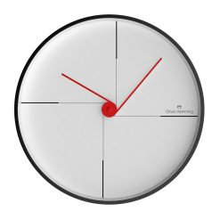Front view photo of contemporary wall clock with black markers and red hands