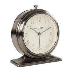 Photo of gun metal chrome alarm clock with white face