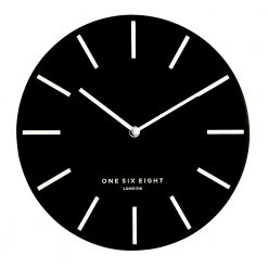 Front view photo of wall clock with white hands and black face
