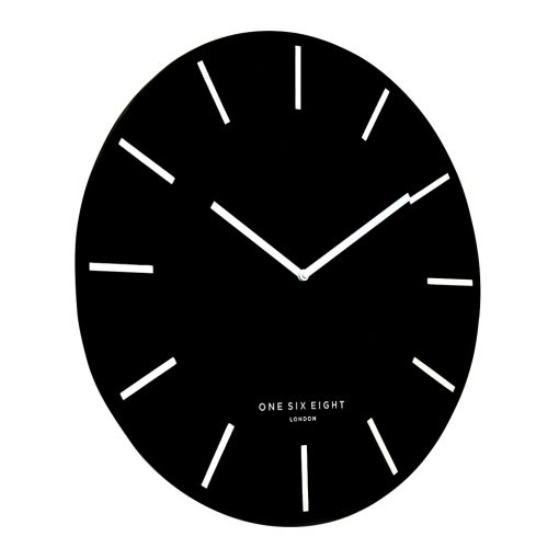 Side view photo of black silent wall clock with white markers