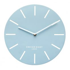 Full photo of large powder blue alarm clock with white hands and markers