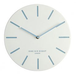 Full front view of silent wall clock with white face and pastel blue markers