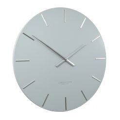 Angled view of large cloud metal wall clock with silver hands and markers