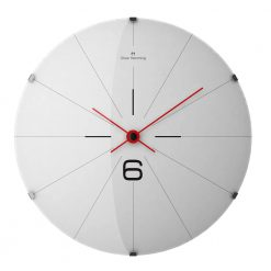 Front view photo stainless steel wall clock with red hands
