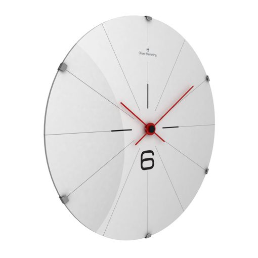 Angled view of contemporary stainless steel wall clock with red hands