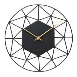 Full photo of black modern wall clock with gold hands