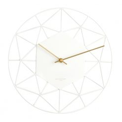 Front view photo of modern white wall clock with gold hands