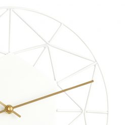 Close-up photo of white modern silent wall clock with gold hands