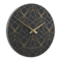 Side view photo of modern metal wall clock with gold lines
