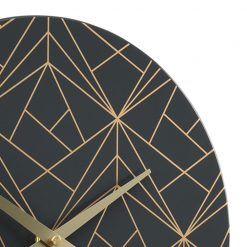 Close-up photo of metal wall clock with charcoal face and gold lines