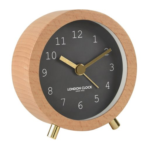 Cool grey alarm clock with wooden outercase