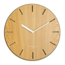Image of concrete and wooden wall clock with white hands