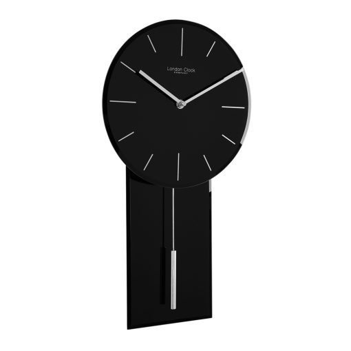 Perspective view of black glass pendulum wall clock