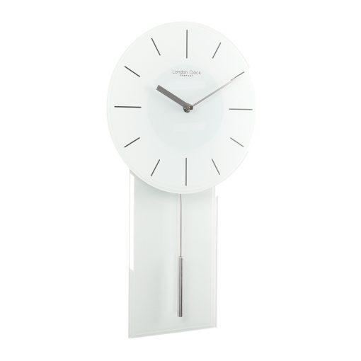 Full photo of white glass pendulum wall clock