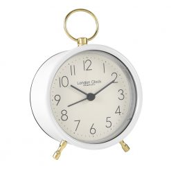 Simple metal white alarm clock with gold hoop