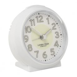 White alarm clock with glow in the dark numbers