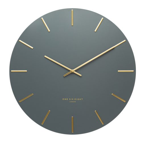 Front view photo of dark grey coloured silent wall clock with gold markers