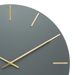 Photo of large charcoal coloured silent tick wall clock with gold hands