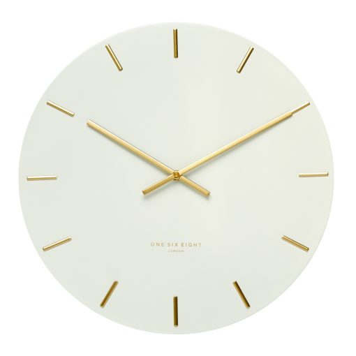 Front view of large white silent modern wall clock with gold markers