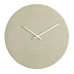 Front view photo concrete coloured silent wall clock with gold hands and markers