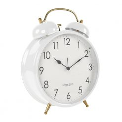 Side view photo of large, pure white alarm clock with grey hands